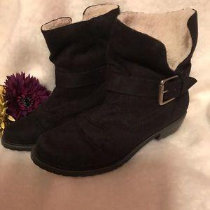 MIA 2 Black Faux Suede Ankle Boots